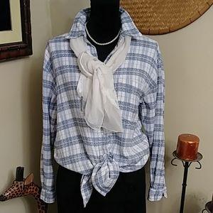 🎅4/$25 Lemon Grass Blue Plaid Shirt